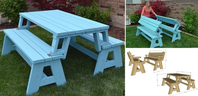 Convertible Picnic Table And Bench Total Survival