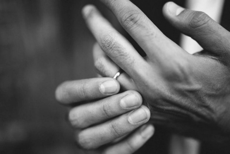 Black-and-white-photo-of-hand-Ring-Stuck-on-Finger